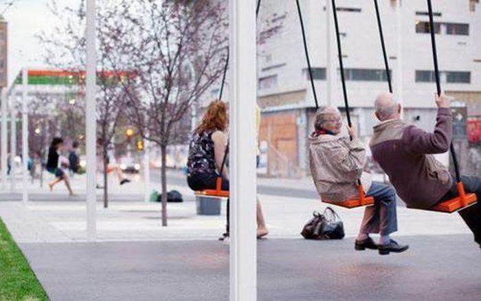 Bus stop swings