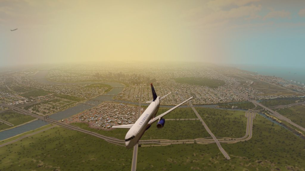 air traffic over the city