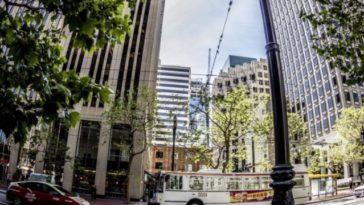 street through fisheye lens